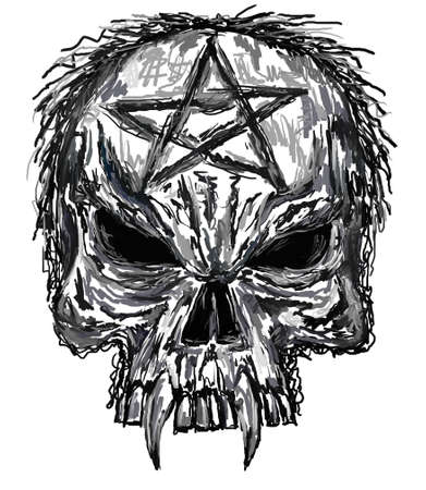 sketch of evil skull Stock Photo