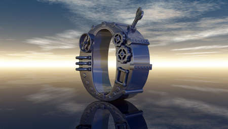 machine letter o under cloudy sky - 3d illustration illustration