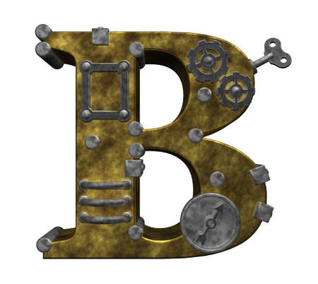 steampunk letter b on white background - 3d illustration illustration