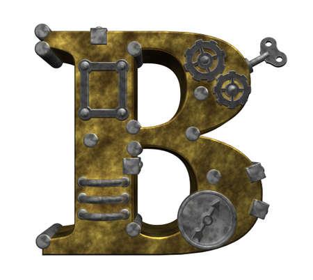 steampunk letter b on white background - 3d illustration