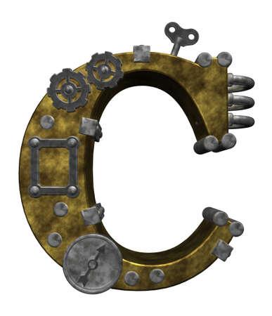 steampunk letter c on white background - 3d illustration