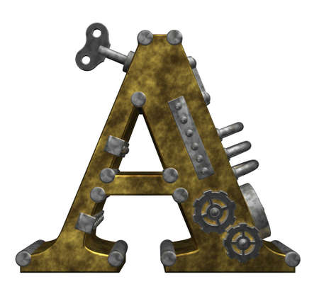 capital letter: steampunk letter a on white background - 3d illustration