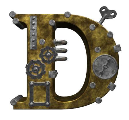 흰색 배경에 steampunk 편지 D - 차원 그림