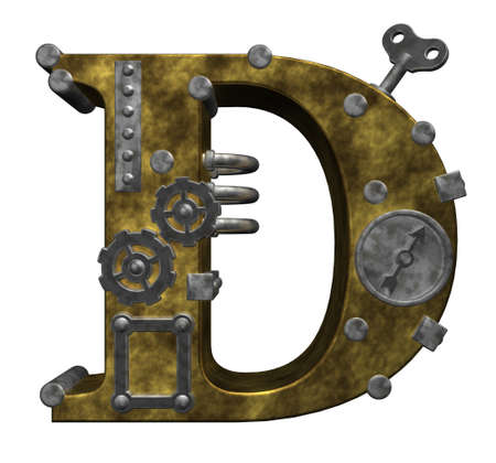capital letters: steampunk letter d on white background - 3d illustration