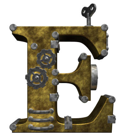 metal letter: steampunk letter e on white background - 3d illustration