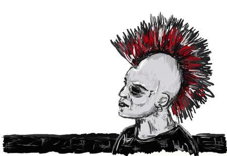 tough man: punk rocker with mohawk - illustration