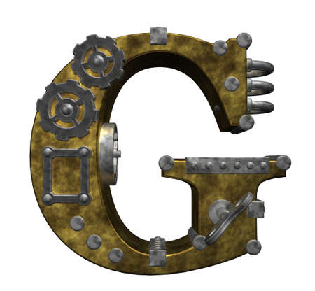 steampunk letter g on white background - 3d illustration illustration