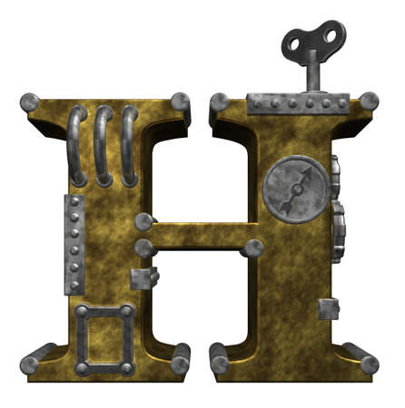 steampunk letter h on white background - 3d illustration