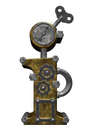 steampunk letter i on white background - 3d illustration
