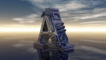 machine letter a under cloudy sky - 3d illustration illustration