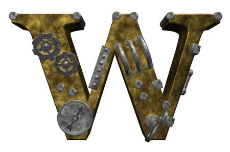 steampunk letter w on white background - 3d illustration illustration