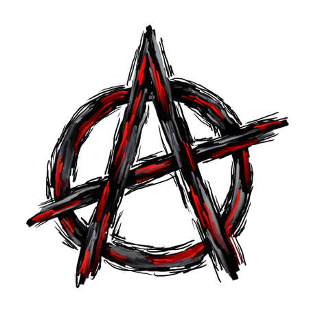 revolution: painted anarchy symbol on white background
