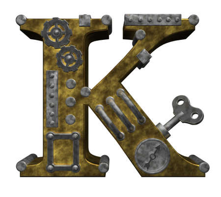 clockwork: steampunk letter k on white background - 3d illustration Stock Photo