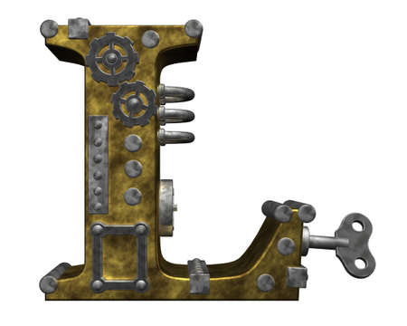 clockwork: steampunk letter l on white background - 3d illustration