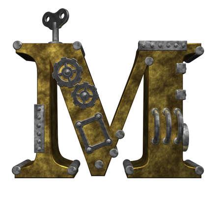 흰색 배경에 steampunk 편지 m - 차원 그림 스톡 콘텐츠