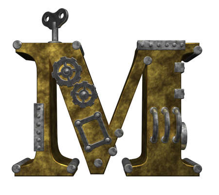metal letter: steampunk letter m on white background - 3d illustration