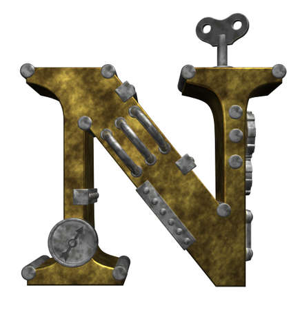 letter n: steampunk letter n on white background - 3d illustration Stock Photo