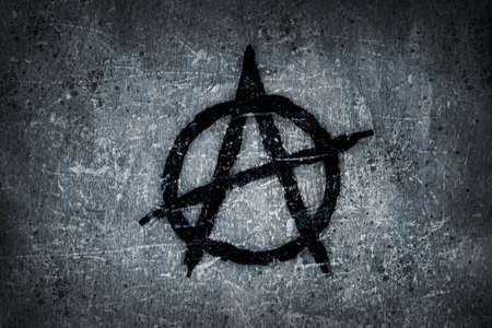 anarchy symbol on grunge background photo