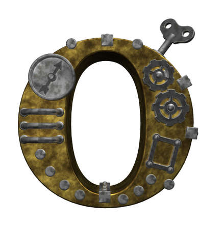 steampunk letter o on white background - 3d illustration