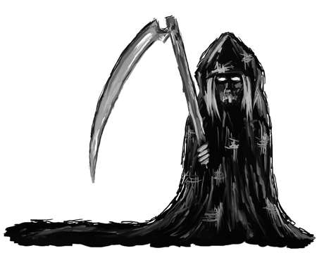 grim reaper: painting - reaper on white background Stock Photo