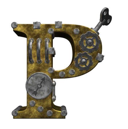 steampunk letter p on white background - 3d illustration