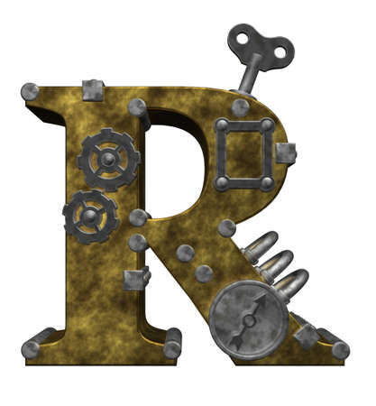 capital letter: steampunk letter r on white background - 3d illustration Stock Photo