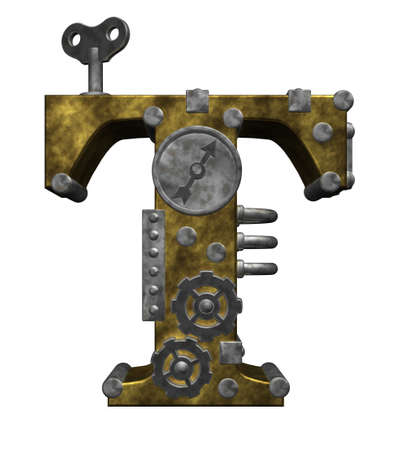 steampunk letter t on white background - 3d illustration Stock Photo