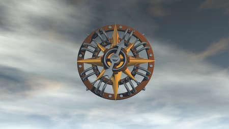compass on cloudy sky - 3d illustration illustration
