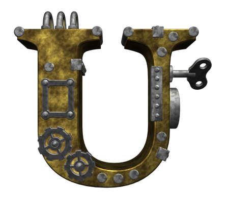 capitel: steampunk letra u en fondo blanco - 3d ilustración
