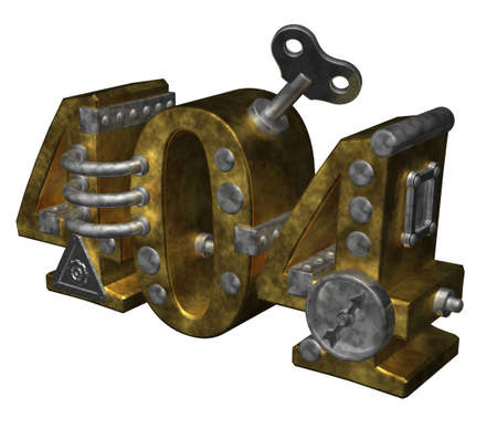 metal number 404 on white background - 3d illustration illustration