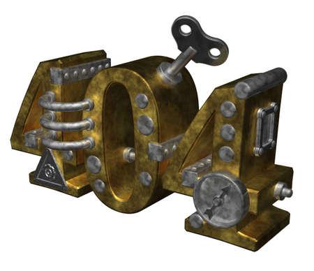 metal number 404 on white background - 3d illustration illustration