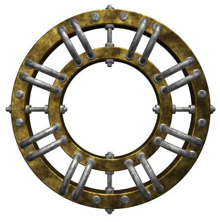 round steampunk frame border on white background - 3d illustration