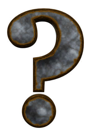 rusty question mark on white background - 3d illustration illustration