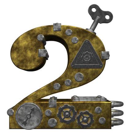 흰색 배경에 steampunk 번호 두 - 차원 그림