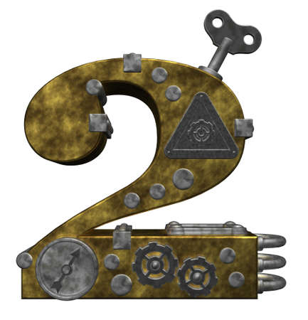numerical value: steampunk number two on white background - 3d illustration Stock Photo