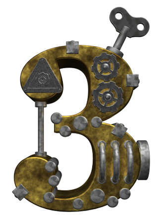 three objects: steampunk number three on white background - 3d illustration Stock Photo