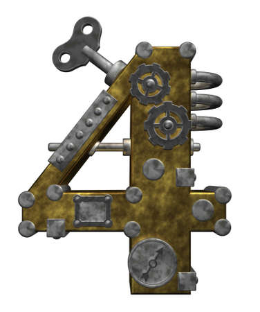steampunk number four on white background - 3d illustration Stock Photo