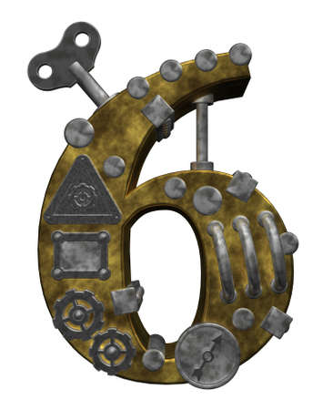 six objects: steampunk number six on white background - 3d illustration