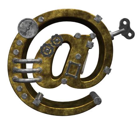 steampunk email symbol on white background - 3d illustration illustration