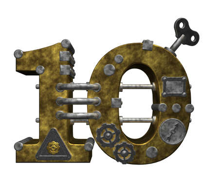 10 number: steampunk number ten on white background - 3d illustration