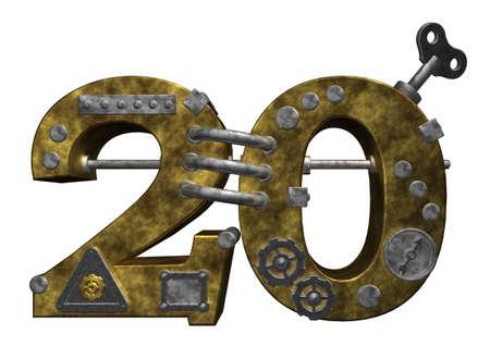 20: steampunk number twenty on white background - 3d illustration Stock Photo