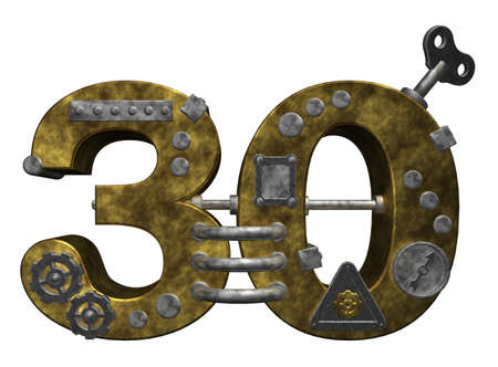 cipher: steampunk number thirty on white background - 3d illustration Stock Photo