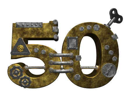 dieselpunk: steampunk number fifty on white background - 3d illustration Stock Photo