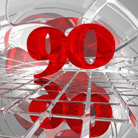 ninety: red number ninety on chrome tiles - 3d illustration