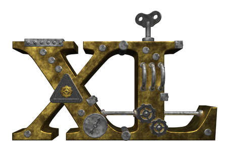 dieselpunk: metal letters xl on white background - 3d illustration