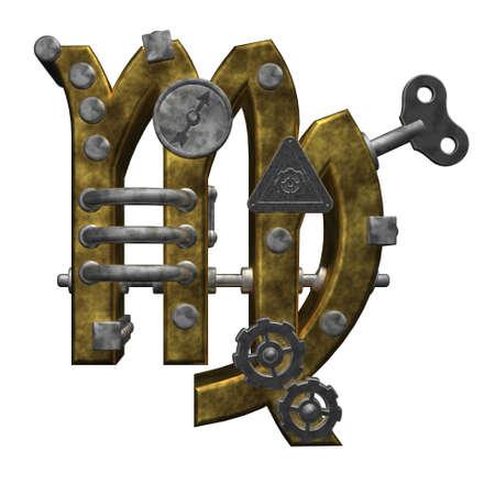 dieselpunk: metal asterisk virgo symbol on white background - 3d illustration Stock Photo