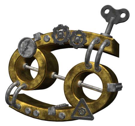 dieselpunk: metal asterisk cancer symbol on white background - 3d illustration Stock Photo