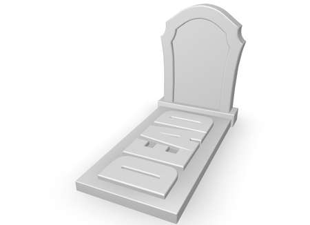 bury: gravestone with the word dead on white background - 3d illustration