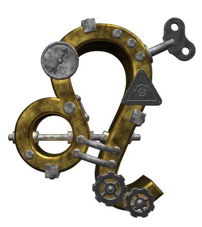 dieselpunk: metal asterisk leo symbol on white background - 3d illustration