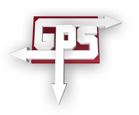 letters gps with arrows on white background - 3d illustration